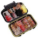 ouken Fliegenfischen Kit Trockenfliegen Handgemachte Fischköder Set Sortiment mit Fly Box 40pcs / Set