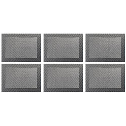 ASA Selection 78056076 Weboptik Tischset, 46 x 33 cm, PVC, grau (6 Stück)