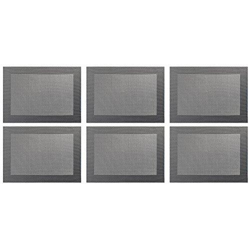 ASA Selection 78056076 table top Weboptik Tischset, 46 x 33 cm, PVC, grau (6 Stück)
