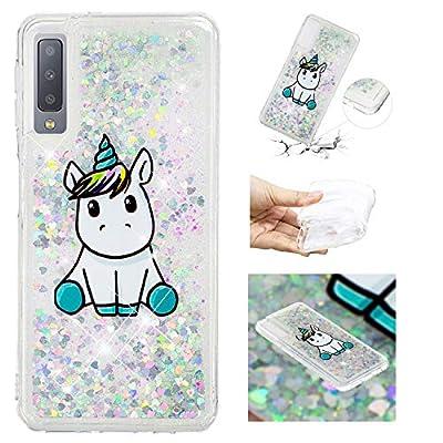 HopMore Compatible para Funda Samsung Galaxy A7 2018 3D Silicona Glitter Liquido Brillante Purpurina Transparente Dibujo Carcasa Resistente Antigolpes Caso Protección Soft Case Cover - Unicornio