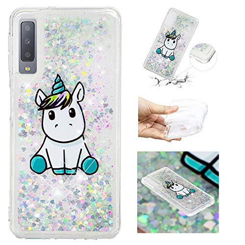 HopMore Compatibile con Cover Samsung Galaxy A7 2018 Silicone Morbido Brillantini 3D Trasparente con Disegni Belle Custodia Morbide Trasparenti Antiurto Brillante Glitter Case Protettiva - Unicorno