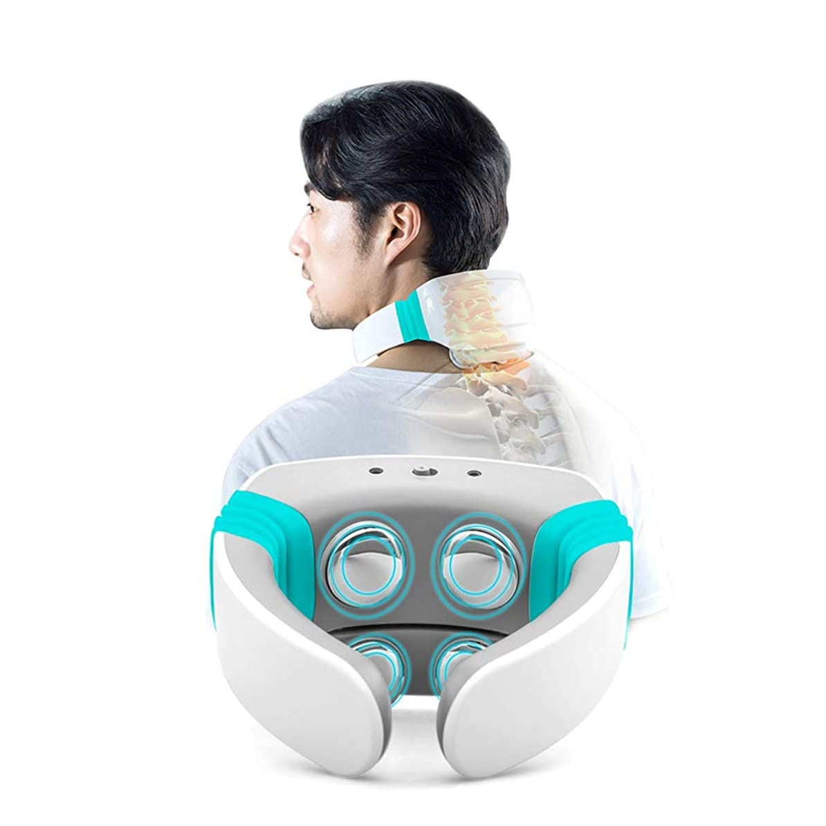 変形上がる数電気鍼治療の首マッサージャー指圧深部ティッシュポータブルデジタルネック治療用充電パッチマッサージワイヤレスリモートコントロール