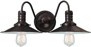 Langdon Mills 10248 Putnam 2-Light Industrial Bathroom Vanity Light, Burnished Bronze