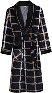 Winter Kimono Robe Gowm Sleepwear Men Nightdress Homewear Flannel Warm Nightwear Nightgown Casual Full Bathrobe Gown,XL