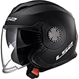 LS2of570Verso doble visera Jet y Demi-Jet Open Face casco moto–negro mate XXL(63-64cm)