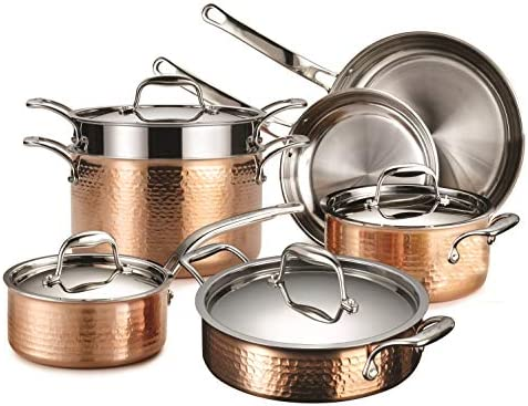 Lagostina Martellata Tri ply Hammered Copper 11 PC Pots and Pans Cookware Set Copper product image