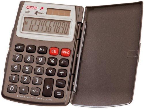 Genie 520 10-stelliger Taschenrechner (Dual-Power (Solar und Batterie), inkl. Klappdeckel, kompaktes Design) grau