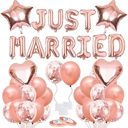 Palloncini Matrimonio, Banner di Matrimonio Palloncino in Oro Rosa, Decorazione di Palloncini da Matrimonio in Oro Rosa, Adatto per la Decorazione di Matrimoni, Fidanzamenti, Regali di San Valentino