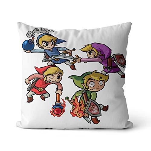 Cojín de Zelda con impresión digital, juego de aventura, rollo para sofá, salón, hogar, decoración, coche, 55 x 55 cm