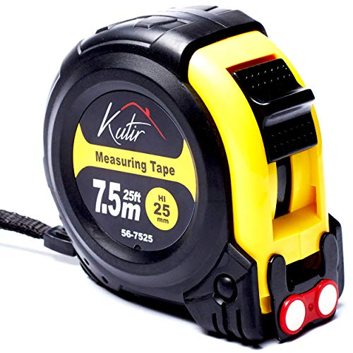 25 Foot Tape Measure By Kutir - EASY TO READ, Both Side Dual Ruler, MAGNETIC HOOK, Shock Absorbent Solid Rubber Case Measuring Tape