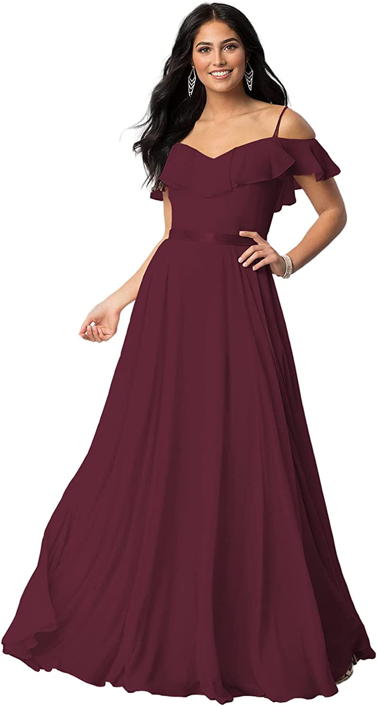 ChongXiao Women's Off Shoulder Chiffon Bridesmaid Dresses 2021 V Neck Ruffle Ribbon Long Formal Dress CX54