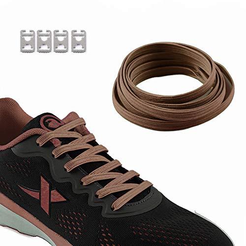 ZYVoyage Elastische Schnürsenkel Flache mit einstellbarer Spannung - Schnellschnürsystem ohne Binden - Trainers Sneaker Turnschuhe - High Qualitäts - Kinder-Erwachsene,ca. 7,0 (Braun)