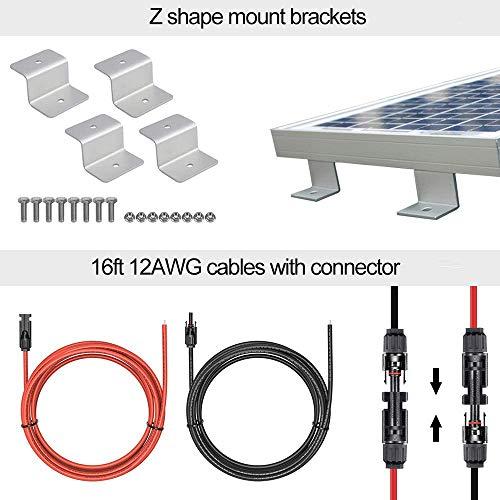 ECO-WORTHY Kit pannelli solari 100 Watt 12V + regolatore di carica 20A per sistema di batterie off-grid 12 volt