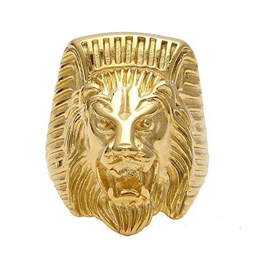 BOBIJOO JEWELRY - El Anillo de sellar el Hombre de Egipto con Cabeza de León Faraón Poder Chapado en Oro de Acero - 27 (12 US), Dorado - Acero Inoxidable 316