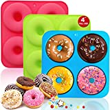 Walfos Full Size Silicone Donut Mold - 4 Inch Big Size Silicone Doughnut Pan Set, Non-Stick, Just Pop Out! Heat Resistant, BPA FREE and Dishwasher Safe, for Donut Cake Biscuit Bagels (3PK)