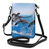 Bolso ligero del teléfono celular de la PU, único 3d animal delfín pequeño Crossbody bolsos bolso bolso bolso de hombro Pounch para las mujeres, color Negro, talla Talla única