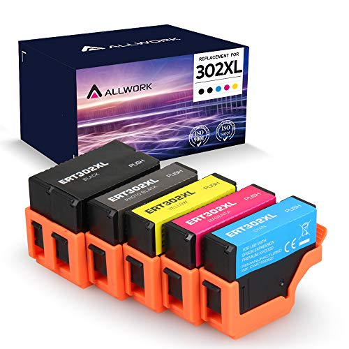 [Upgraded Chip] ALLWORK Remanufactured 302 XL Ink Cartridge Replacement for Epson 302 302xl T302 XL for Epson Expression XP-6000 XP-6100 Inkjet Printer Black Photo Black Cyan Magenta Yellow 5-Pack