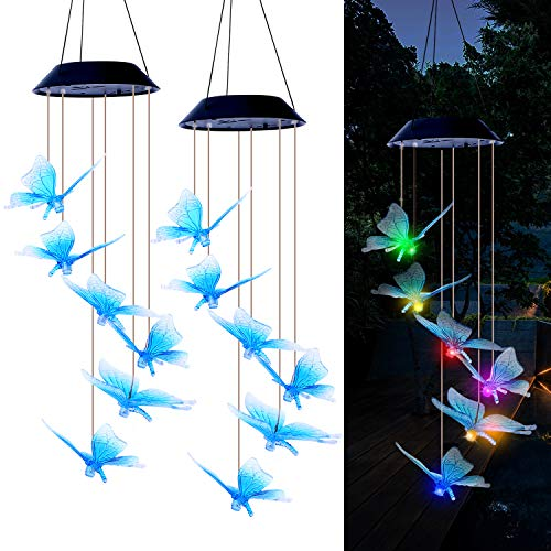 2 Pack Solar Wind Chimes-Color Changing LED Wind Chimes Outdoor&Indoor,Waterproof&Mobile Hanging Wind Chimes with 6 Blue Butterfly Pendants,for Garden, Deck, Patio,Yard&Home
