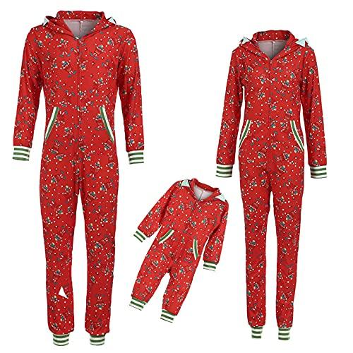 Conjunto de pijama de Navidad para familias, largo, divertido, para hombre, mujer, niño, niña, camisón, ropa de casa, calentito, traje de Navidad, ropa para el hogar, 2 piezas, Mujeres rojas., XL