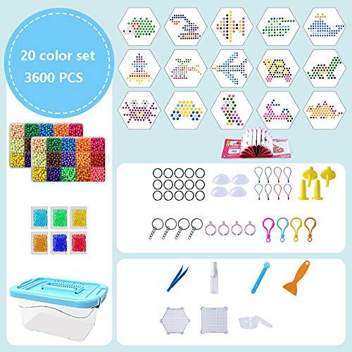 SSZZ Kinder Lernspielzeug Magische Perlen DIY Handgefertigte Materialien Water Fuse Beads Kit Ungiftiges Kunsthandwerk,C