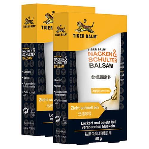 TIGER BALM Nacken & Schulter Balsam – Natürlicher Balsam bei Verspannungen im Nacken- & Schulterbereich – Pflegende Einreibung ideal für unterwegs – 2 x 50 g