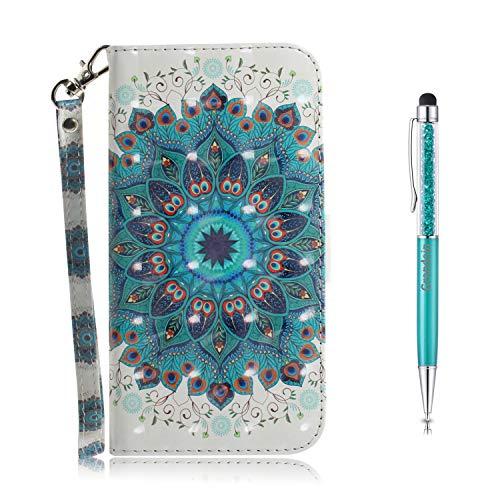 Grandoin Kompatibel mit Samsung Galaxy F41 Hülle, 3D PU Leder Etui Flip Cover Muster Book Case Schutzhülle Handytasche Handyhülle [Ständer Kartenfach] [Magnetverschluss] (Kranz)