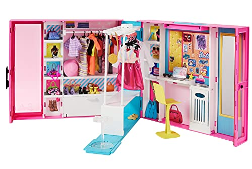 Barbie GPM43 -Traum Kleiderschrank mit über 30 Zubehörteilen, Ganzkörperspiegel, kleinem Tisch und sich drehender Kleiderstange und 5 Outfits, ab 3 Jahren, Abweichungen in Verpackung vorbehalten