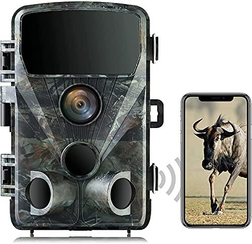 Wildkamera 4K 24MP mit WLAN Bluetooth 0,2s Schnelle Trigger Geschwindigkeit 46pcs-850nm-IR-LEDs für 65ft Nachtsicht Wildkamera IP66 Wasserdicht Jagdkamera für Wildtiere Jagd