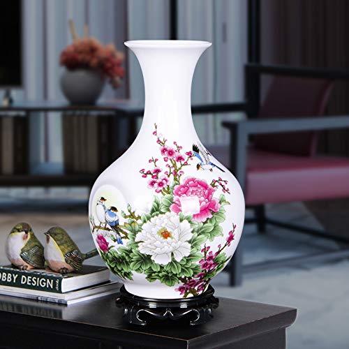 Jingdezhen cerámica pequeño florero decoración del hogar arreglo Floral Sala de Estar gabinete de TV gabinete de Vino decoración Flor Buena Luna Botella Redonda 13 * 22 cm