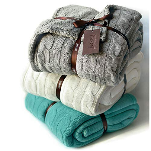 Cable Knit Sherpa Oversized Throw Reversible Blanket Faux Sheepskin Lined Cozy Cotton Blend Sweater...
