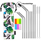 SEIVAN STRAWS Designer Pouch Set of 8 Stainless Steel Reusable Metal Straws with Silicone Tip-Drinking Straws for 30oz 20oz Yeti RTIC Tumbler - 8 Steel Straws, 12 Silicone Tips, 2 Straw Cleaning Brush