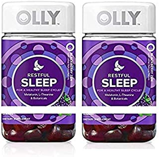 OLLY Restful Sleep Gummy Supplement with Melatonin & L-Theanine Chamomile, BlackBerry Zen, Supports a Healthy Sleep Cycle* (Packaging May Vary) (140 Count)