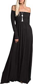 Womens Casual Long Sleeve Off Shoulder Maxi Long Dress with Pocket