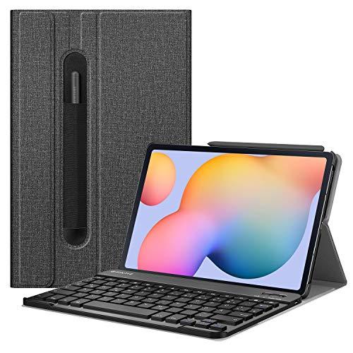 Fintie Tastatur Hülle für Samsung Galaxy Tab S6 Lite 10,4 SM-P610/ P615 2020 mit Stifthalter - Superdünn Keyboard Hülle mit magnetisch Abnehmbarer drahtloser Deutscher Tastatur, Jeansoptik dunkelgrau