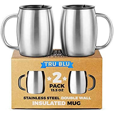 Stainless Steel Coffee Mug with Lid, Set of 2 - Premium Double Wall Insulated Travel Mugs - Shatterproof, BPA Free Spill Resistant Lids, Dishwasher Safe (Steel, 13.5oz)