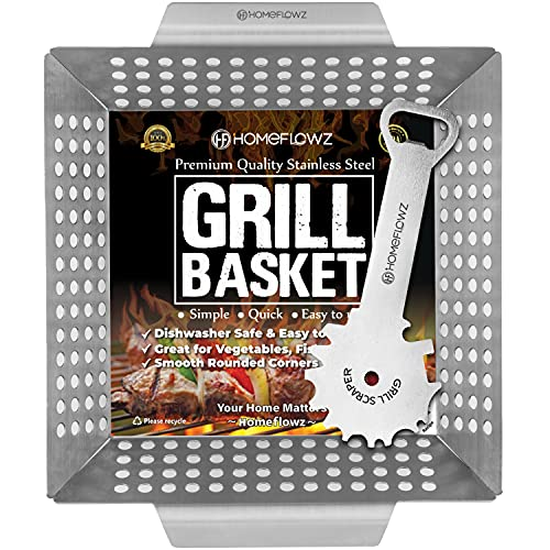 Homeflowz Heavy Duty Grill Basket and Scraper – Large Veggie Grilling Basket - Stainless Steel Grill Baskets for Outdoor Grill - A Vegetable Grill Basket for ALL Barbecues - The Perfect BBQ Basket