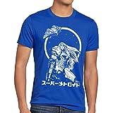 A.N.T. Samus Return T-Shirt da Uomo Metroid Nerd Gamer NES Snes Geek, Dimensione:M;Colore:Blu