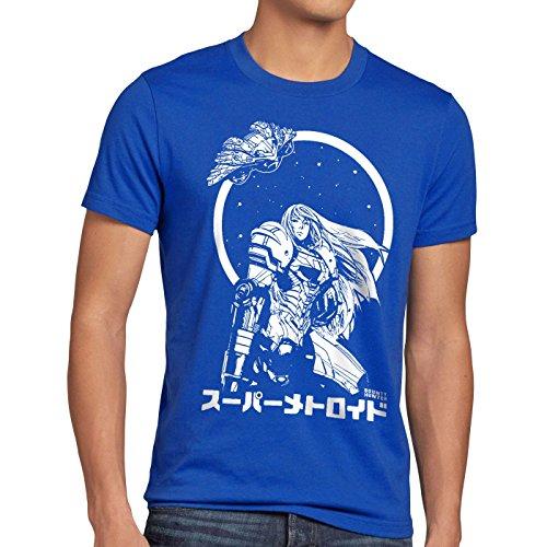 A.N.T. Samus Return Herren T-Shirt Metroid Nerd Gamer NES SNES Geek, Größe:XXXL, Farbe:Blau