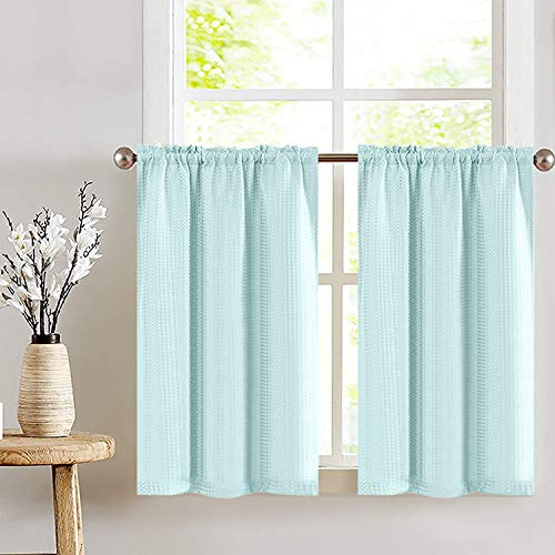 Small Window Curtains for Kitchen Waffle Woven Textured Short Cafe Tiers Short Window Treatments for Bathroom Door Curtain 1 Pair 45 Inches Light Teal