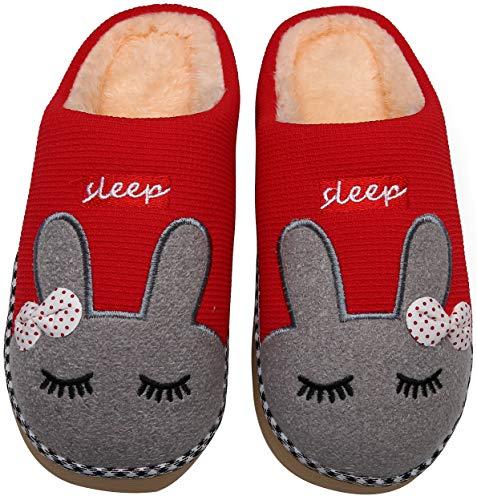 Mishansha Pantofole Donna Uomo Pantofola di Cartone Animato Peluche Ciabatte da Casa Scarpe per Inverno Autunno - Calde Leggere Morbide Comode e Antiscivolo(Rosso, 39/40 EU = 40/41 CN)