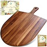 Wood Pizza Board - Wooden Pizza Paddle - Acacia Wood Pizza Peel - 17'x13' - Cheese Board - Charcuterie Board - Baking Spatula - Farmhouse Wall Decor - Bread Board - Great for Gifts - 7 Degrees West