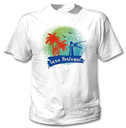 teesquare1st Faro Portugal Camiseta Blanca para Hombre de Algodon