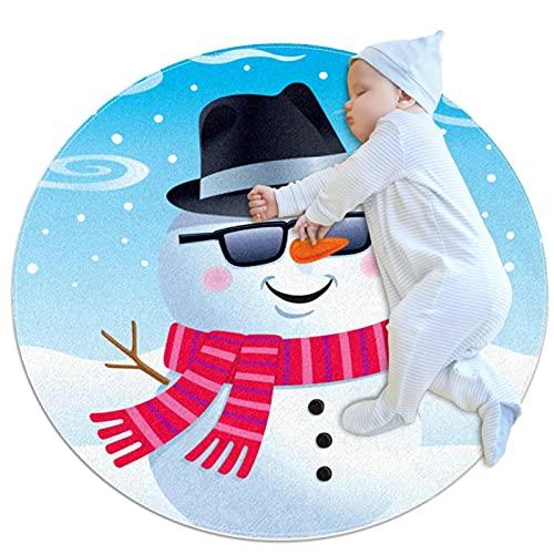 Alfombras de área redonda de diámetro 27,6 pulgadas Gafas de sol de Snowman Fedora Alfombra suave divertida antideslizante para sala de estar dormitorio decorativo