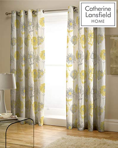 Catherine Lansfield Banbury Floral Easy Care Eyelet Curtains Yellow, 66x72 Inch