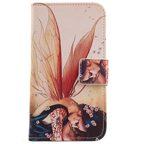 Lankashi PU Flip Stand Leder Tasche Hülle Hülle Cover Wallet Schutz Handy Etui Skin Für Archos Access 50 Color 3G (Wing Girl Design)