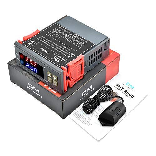 diymore Digital Thermostat Temperatur Luftfeuchtigkeit Controller SHT2000 DC 12V-72V Allzweckheizung Kühlung Befeuchtung Entfeuchtung Hohe Genauigkeit Sensor für Warmwasserbereiter Luftbefeuchter