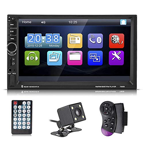 Akozon Auto MP5 speler Radio 7inch HD Touchscreen Bluetooth AUX USB Achteruitrijcamera Afstandsbediening