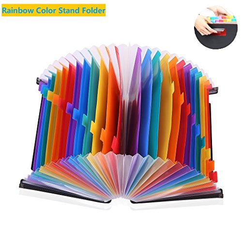 24 Pockets Expanding File Folder/ A4 Accordion File Organizer/Multicolor Portable Expanding File Folder,High Capacity Plastic Business Portable Accordion File Bag,with Colored Tab Office (01) Photo #3