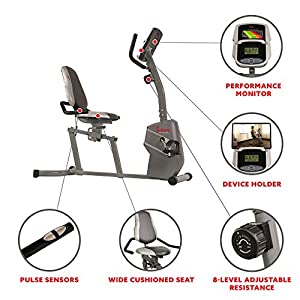 Sunny Health & Fitness Magnetic Recumbent Exercise Bike withEasy Adjustable Seat, Device Holder, RPM and Pulse Rate Monitoring | SF-RB4806