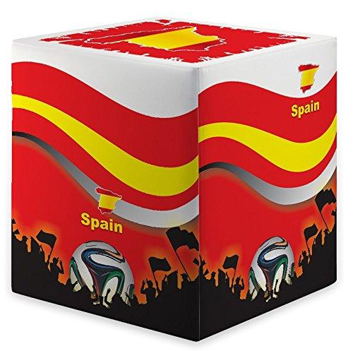 Kaikoon Pouf Cube Coupe du Monde Espagne Spain Dimensions : 35 cm X 35 cm x 42 cm